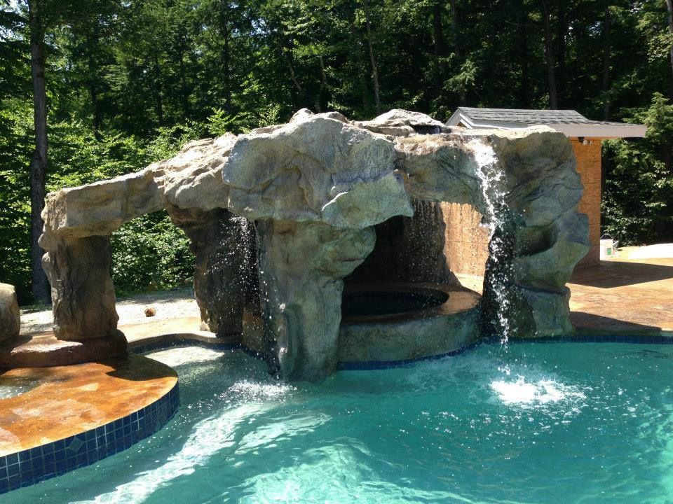 Backyard Grotto Design With Waterfall And Jacuzzi Pool Water Features Backyard Water Feature Pool Waterfall