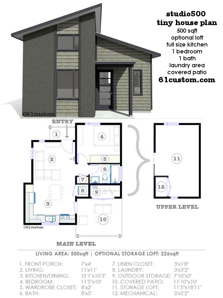 Studio500 Modern Tiny House Plan 61custom Home Small