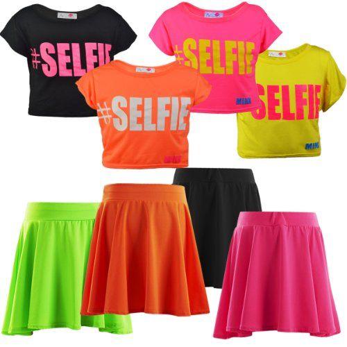 NEW GIRLS KIDS #SELFIE NEON SHORT SLEEVE CROP TOP SELFIE SLOGAN ...