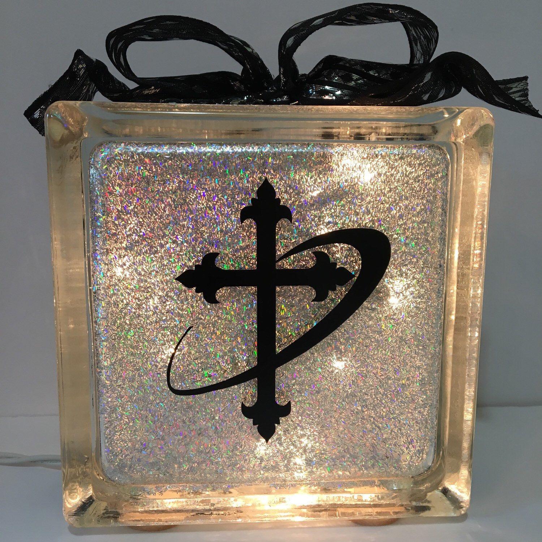 A beautiful glittered cross glass block. Ready to ship.