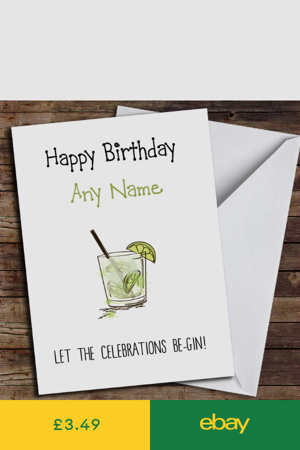 Funny Celebrations Be Gin Personalised Birthday Card Birthday Cards Cards Inspirational Cards