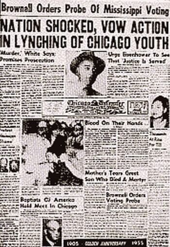 Old newspaper cover on Till's death | Emmett Till (July 25, 1941 ...
