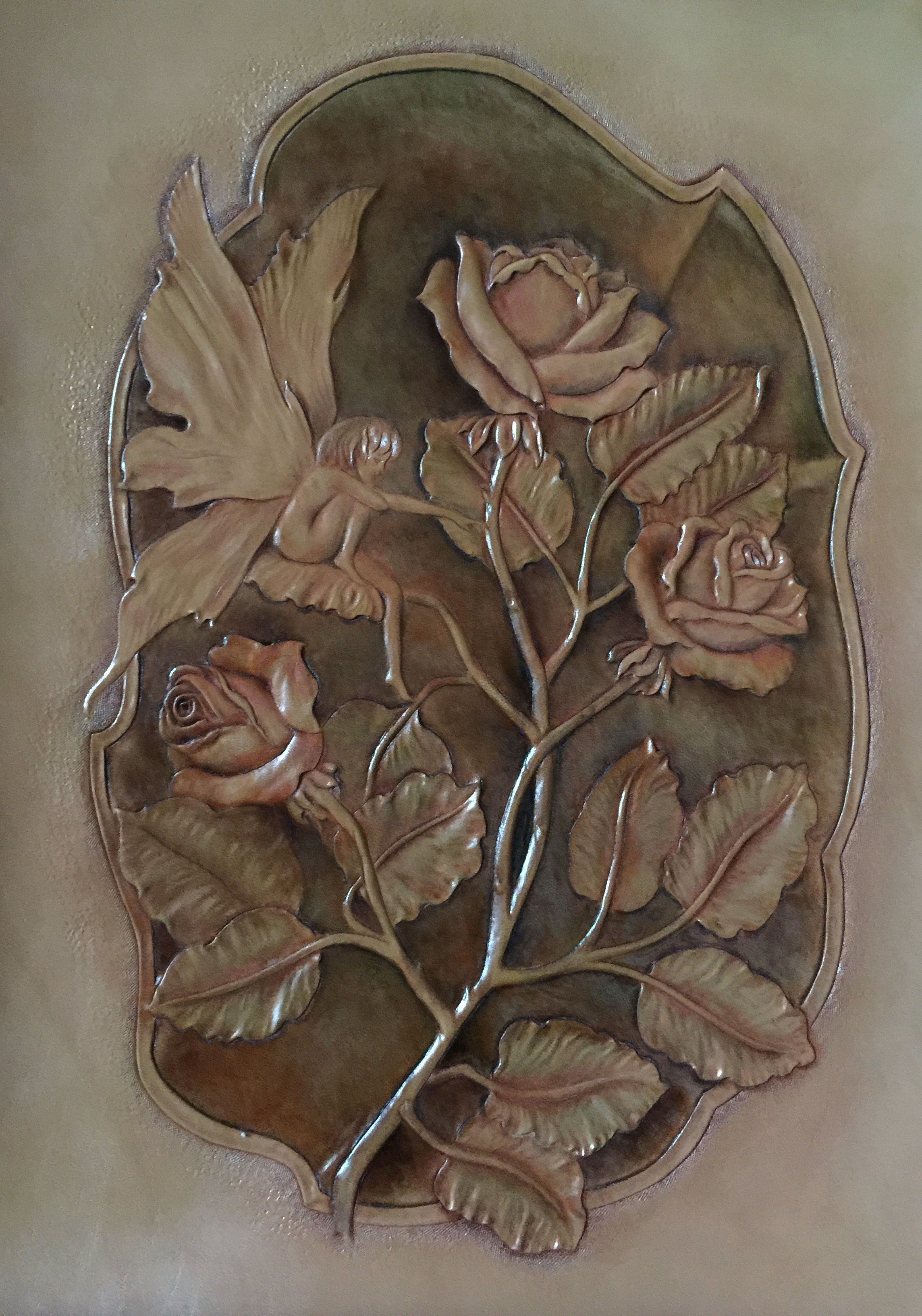 Rose Garden Coloring#leather carving#leather#carving | My Works ...