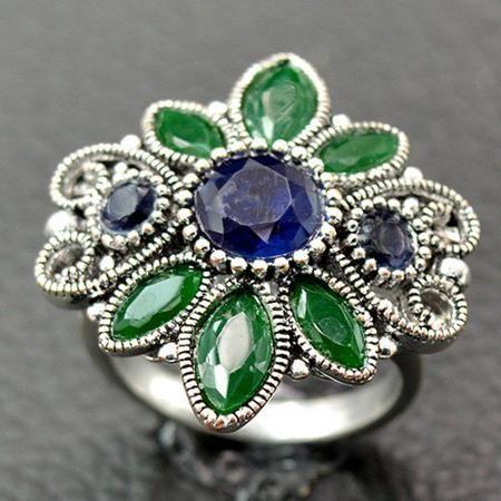 Vintage Artificial Gem Floral Ring