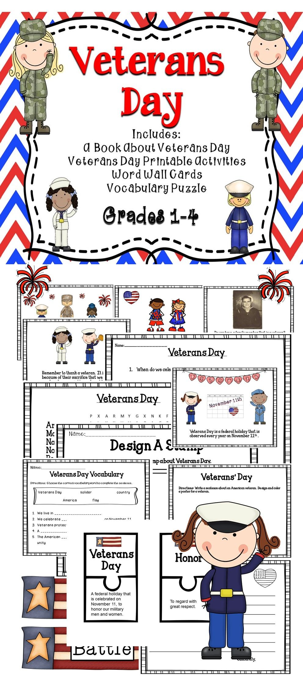 Veterans Day Activities For The Classroom A Great Supplemental Activity Book For Students Includes Vocabulary Veterans Day Activities Veterans Day Veteran [ 2256 x 992 Pixel ]