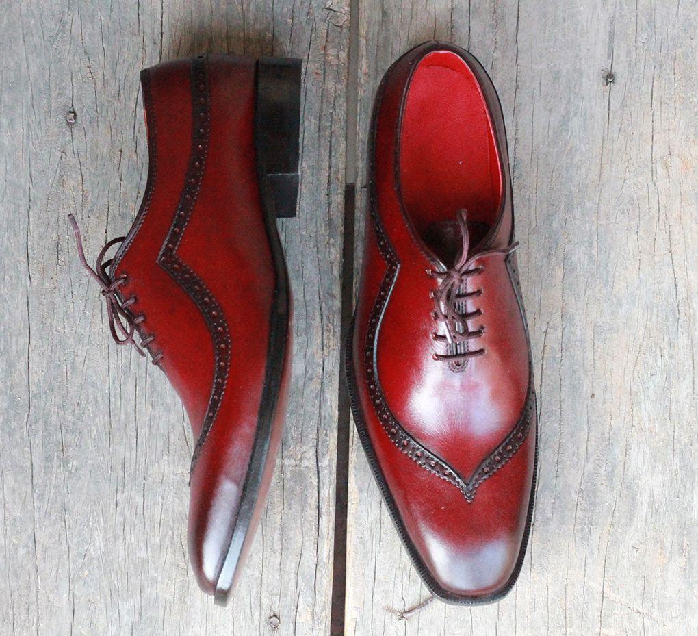 Men's Handmade Burgundy Color Leather formal shoes, Men's Designing Lace Up Shoes