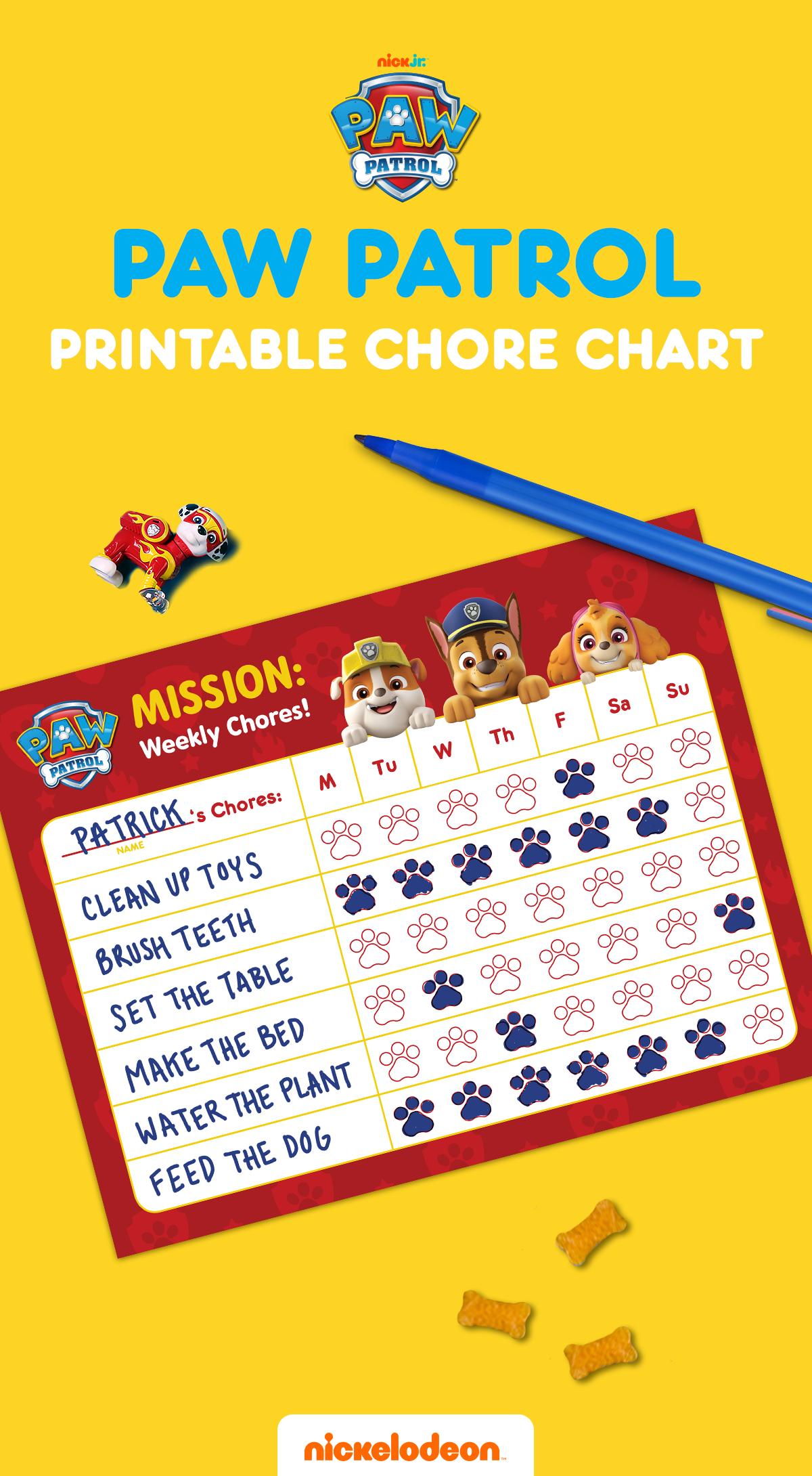 Paw Patrol Chore Chart In