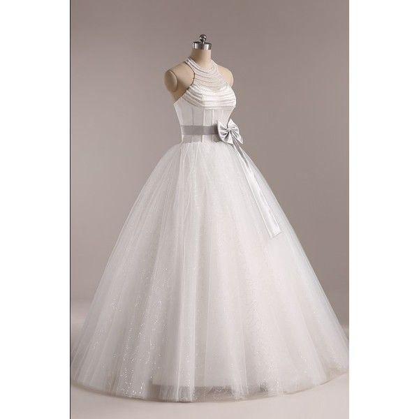 Floor-Length Halter Tulle Beads Bow A Line Lace up Wedding Dress As the Picture and other apparel, accessories and trends. Browse and shop 8 related looks.
