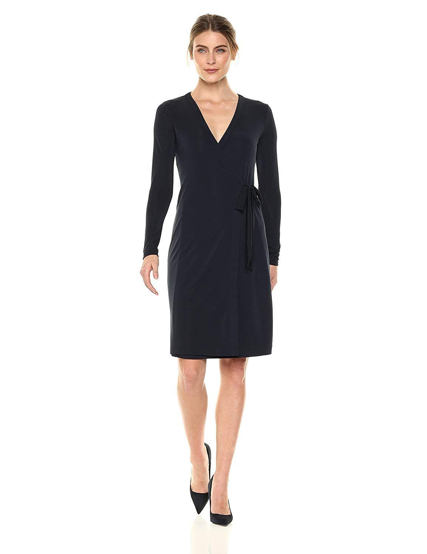 Lark /& Ro Womens Plus Size Classic Long Sleeve Wrap Dress Brand