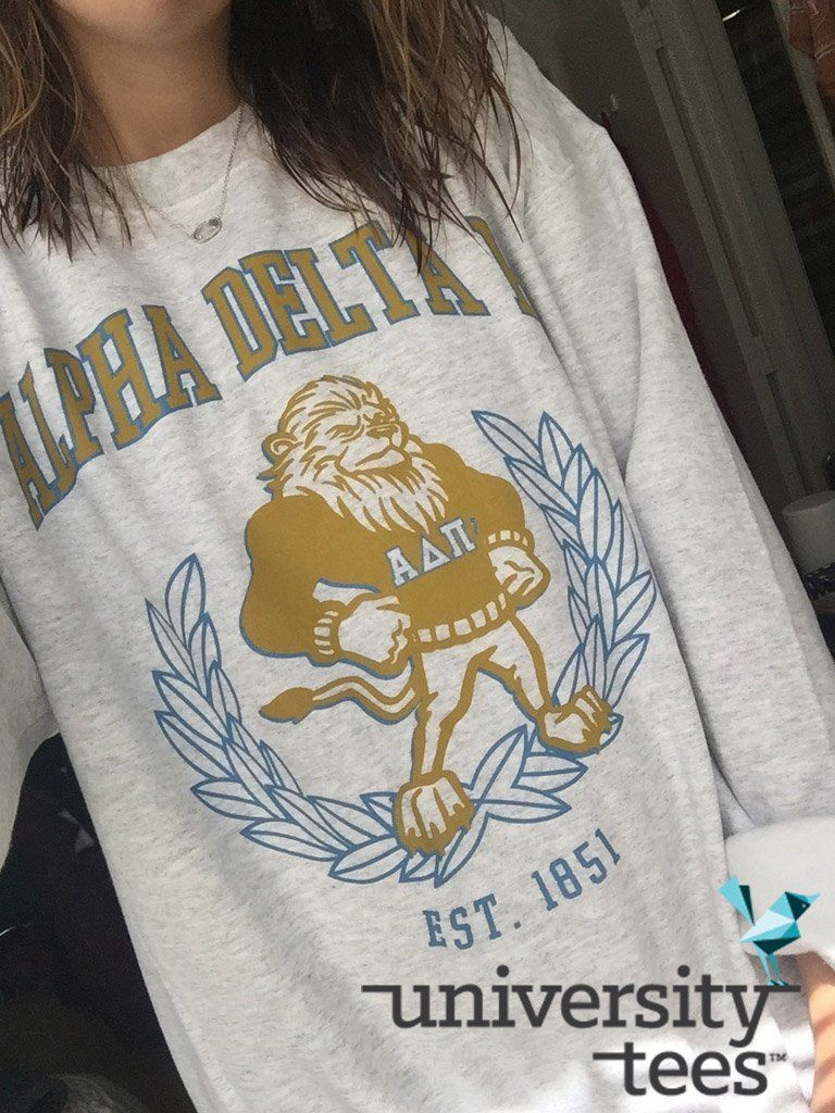 Vintage Crest Just In Time For Sweater Szn I Alpha Delta Pi I Made By University Tees I Apparel Designs Cu Sorority Shirt Designs Sorority Shirts Adpi Shirts [ 1024 x 768 Pixel ]