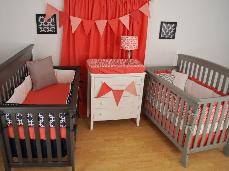 navy and coral crib bedding for twins twins nursery pinterest coral crib bedding crib and. Black Bedroom Furniture Sets. Home Design Ideas