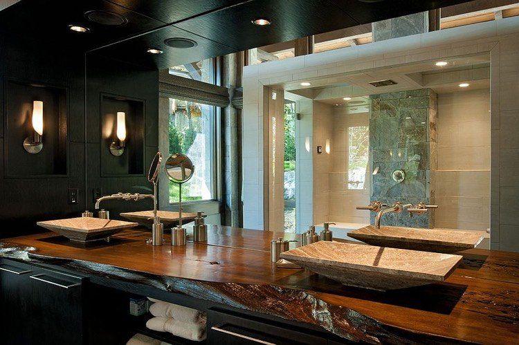 Plan vasque bois brut dans la salle de toilette \u2013 osez le style live