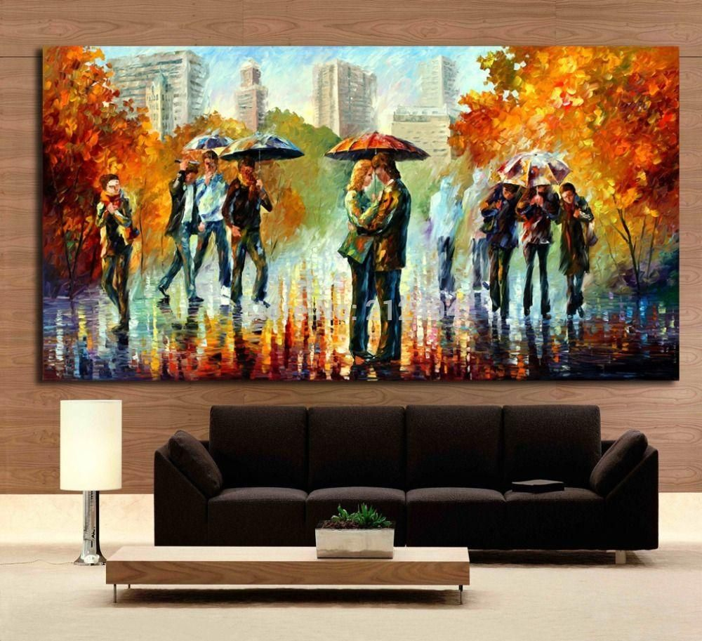 Rainy embrace in the street romantic lover modern palette knite rainy embrace in the street romantic lover modern palette knite oil painting canvas print art for home office cafe wall decor amipublicfo Choice Image