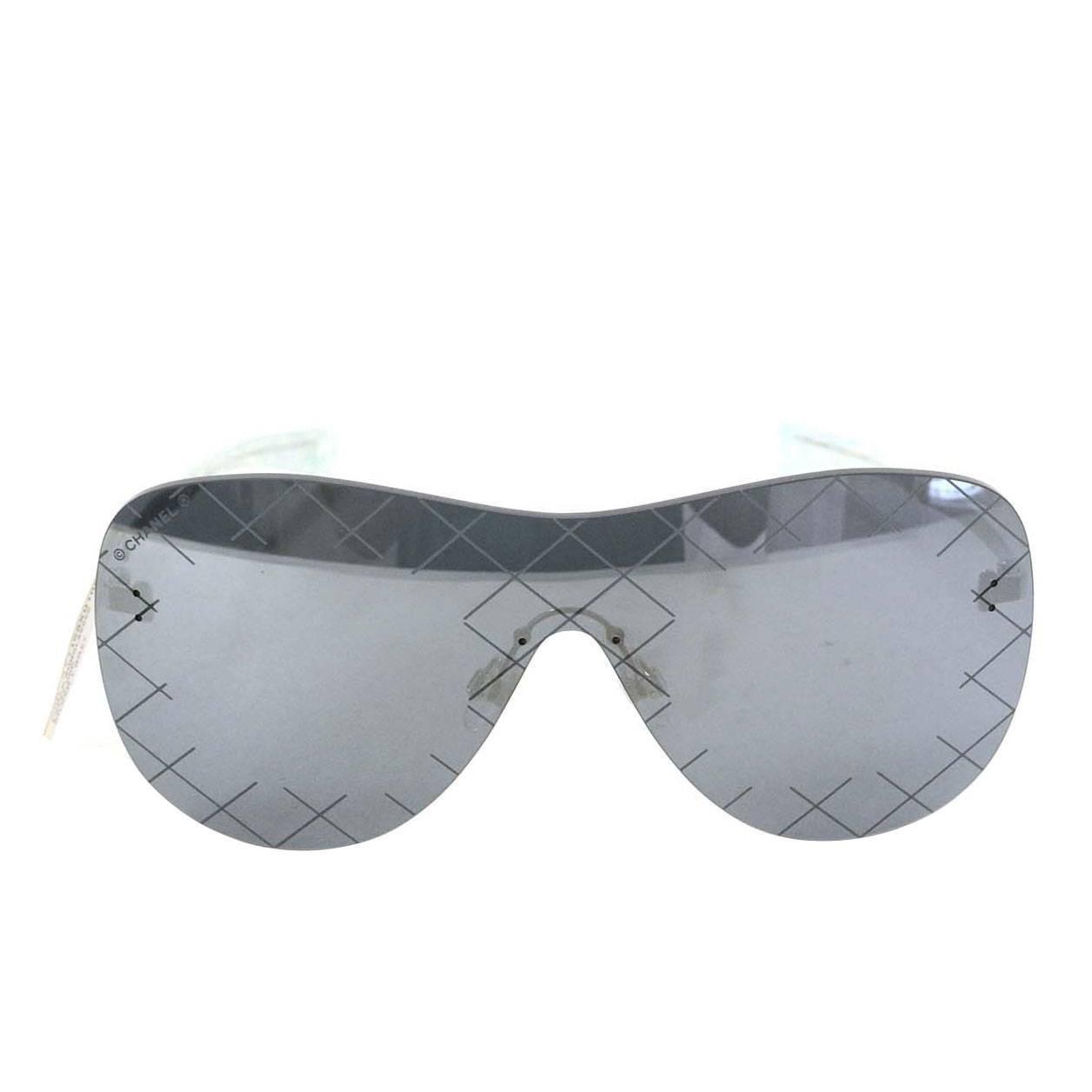 Chanel NEW \'16 Silver & Grey Shield Mirror Aviator Sunglasses