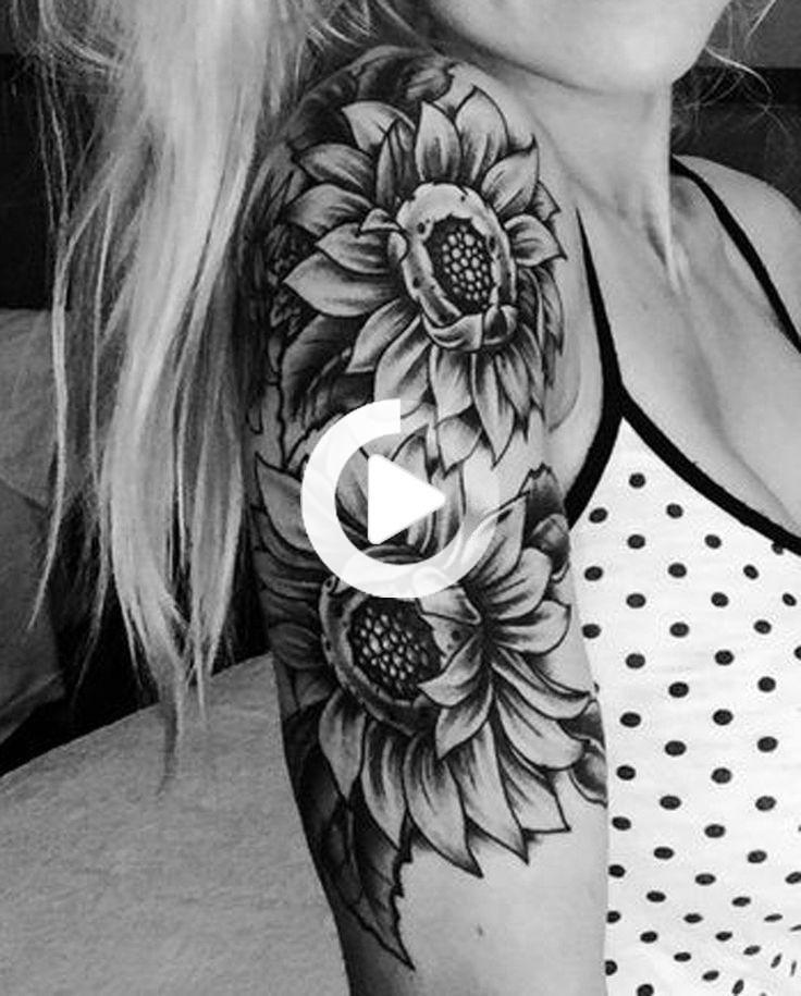 #Arm #Ideas #MyBodiArtcom #Realistic #Shoulder #Sleeve #Sunflower #Tattoo #Women Realistische