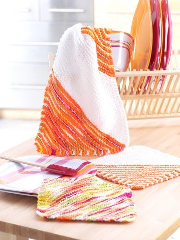 Corner to Corner Striped Hand Towel Set | Yarn | Free Knitting ...