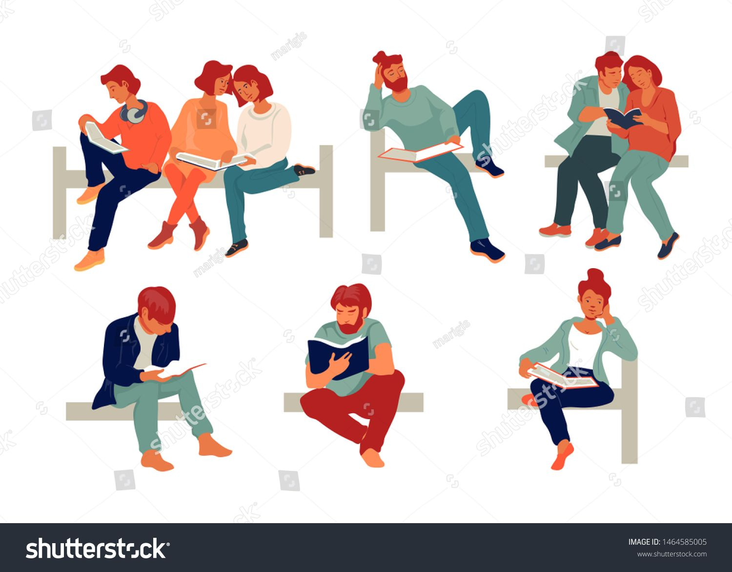 Diverse People Reading Books Studying And Education Concept Set Of Flat Vector Illustration Isolated On White Backgrou Books To Read Diverse People Education
