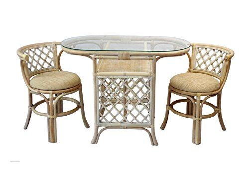 Borneo Compact Dining Set Table With Glass Top 2 Chairs White Wash Handmade Natural Wicker Rattan Fur Dining Furniture Sets Rattan Furniture Oval Table Dining