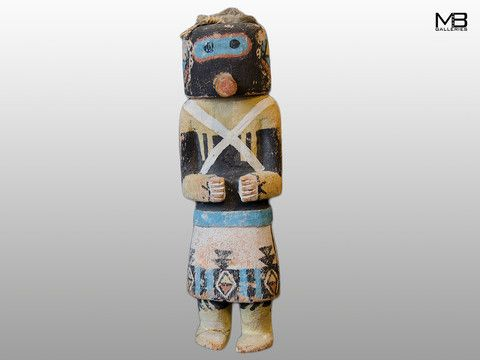 "Hopi Kachina Doll ""Sip-Ikine"" The Sip-ikine is a Zuni Warrior Kachina that appeared in the Bean Dance at the First Mesa. Evidence of extensive handling and use. Circa 1920-30."
