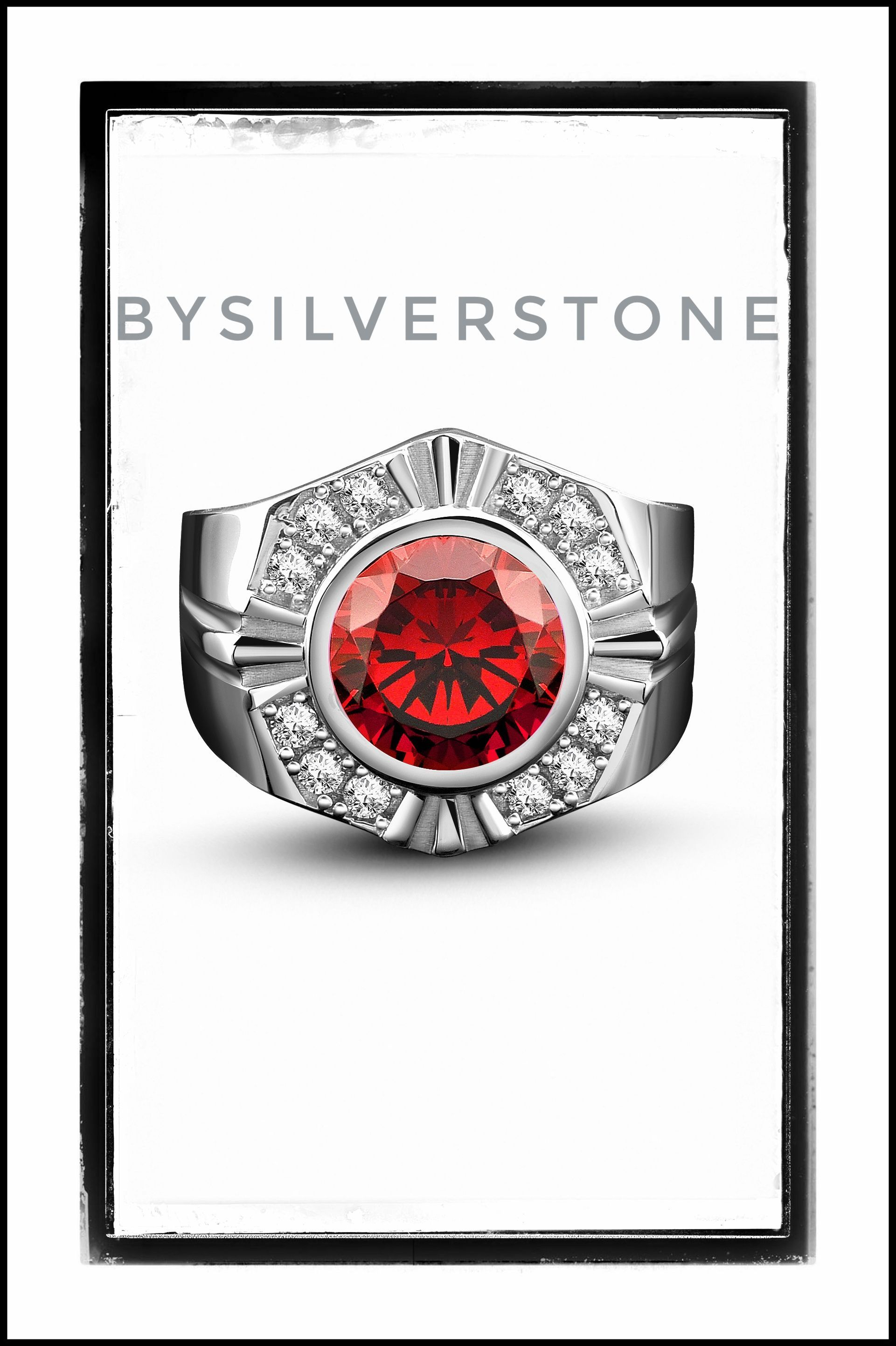 Silver Round Men Ring, Men Wedding Engagement Rings