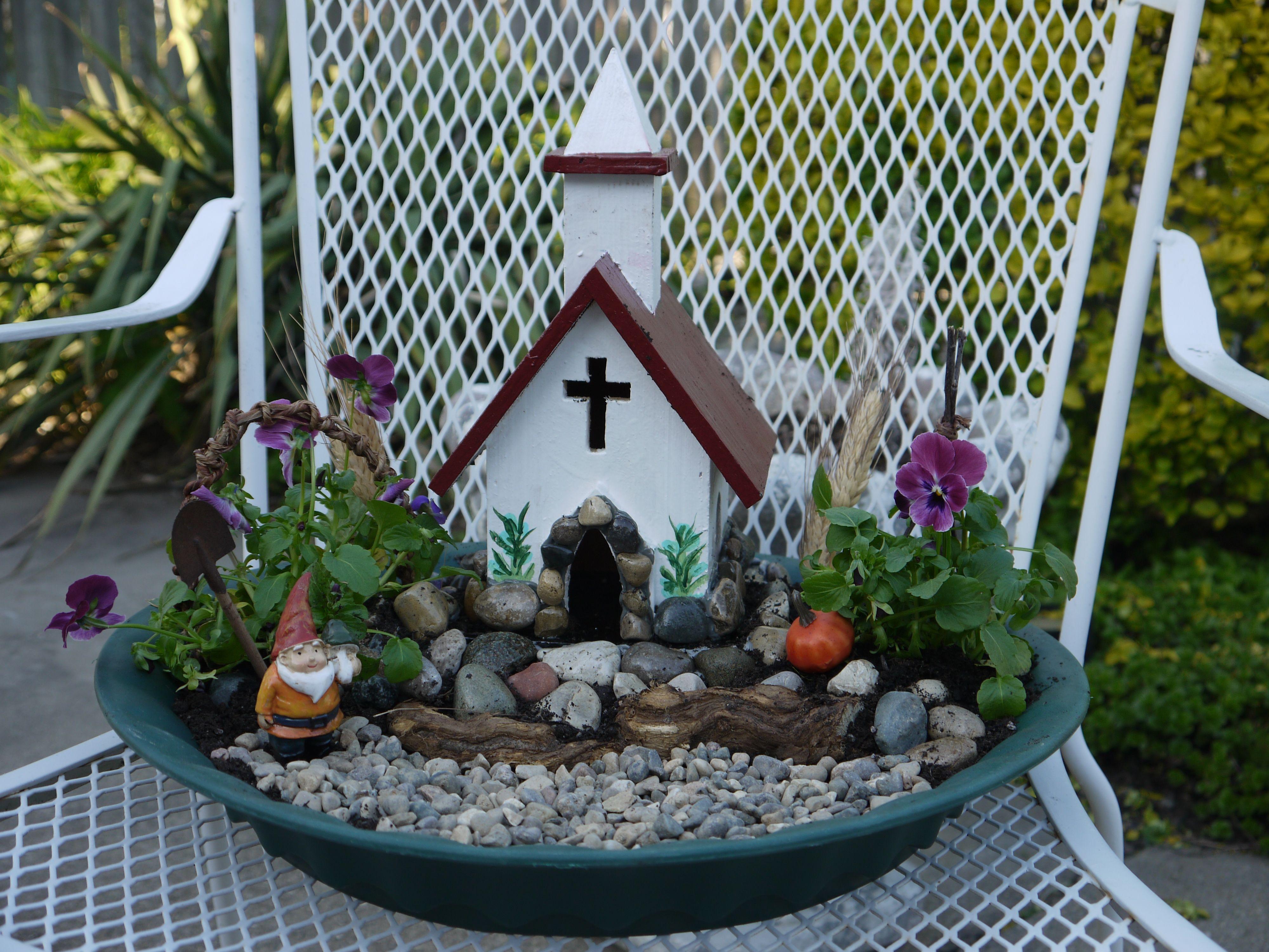 A Church On The Hill Gnome Garden Gardening Pinterest Gnome