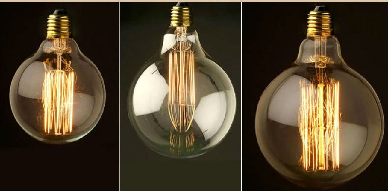 G125 - Dolly Bulb (far right)Photo displays G80, G95 and G125 (far right)In stock now available in a Screw or Bayonet fitting.These bulbs are inspired by the original by Thomas Edison. They produce a beautiful warm amber glow from the clear glass and golden filaments.They can be used with our choices of Bare Bulb Pendants, in our RH Globe Lamps or our Barn Pendants - the choices are endless.Can be used with a dimmer switch too!Description:H: 125mm x D: 145mm40 w 240voltsLasting for ...