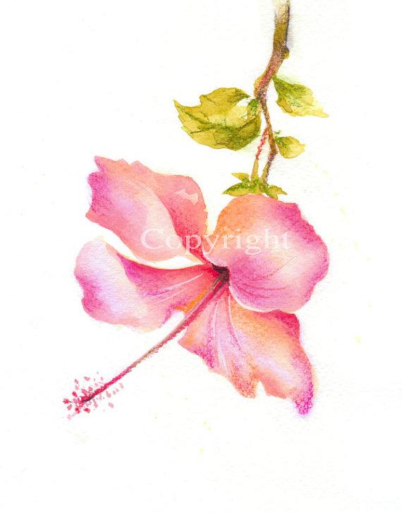 Flower Flower Art Fine Art Giclee Print Watercolor Print Watercolor Pastel Abstract Hibiscus Or Watercolor Art Prints Fine Art Giclee Prints Flower Art
