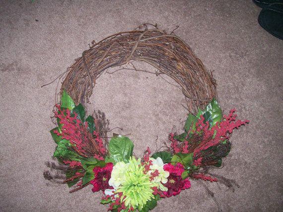 Brilliant green and burgundy wreath by TashasTutuBoutique on Etsy, $17.99