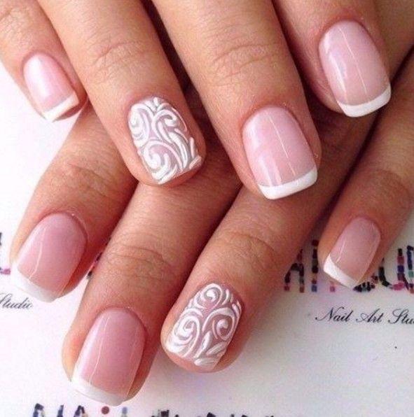 stylish white french tip nails