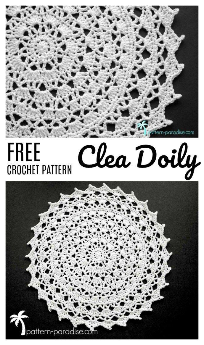 Free Crochet Pattern & Yarn Review - Clea Doily | Free crochet ...