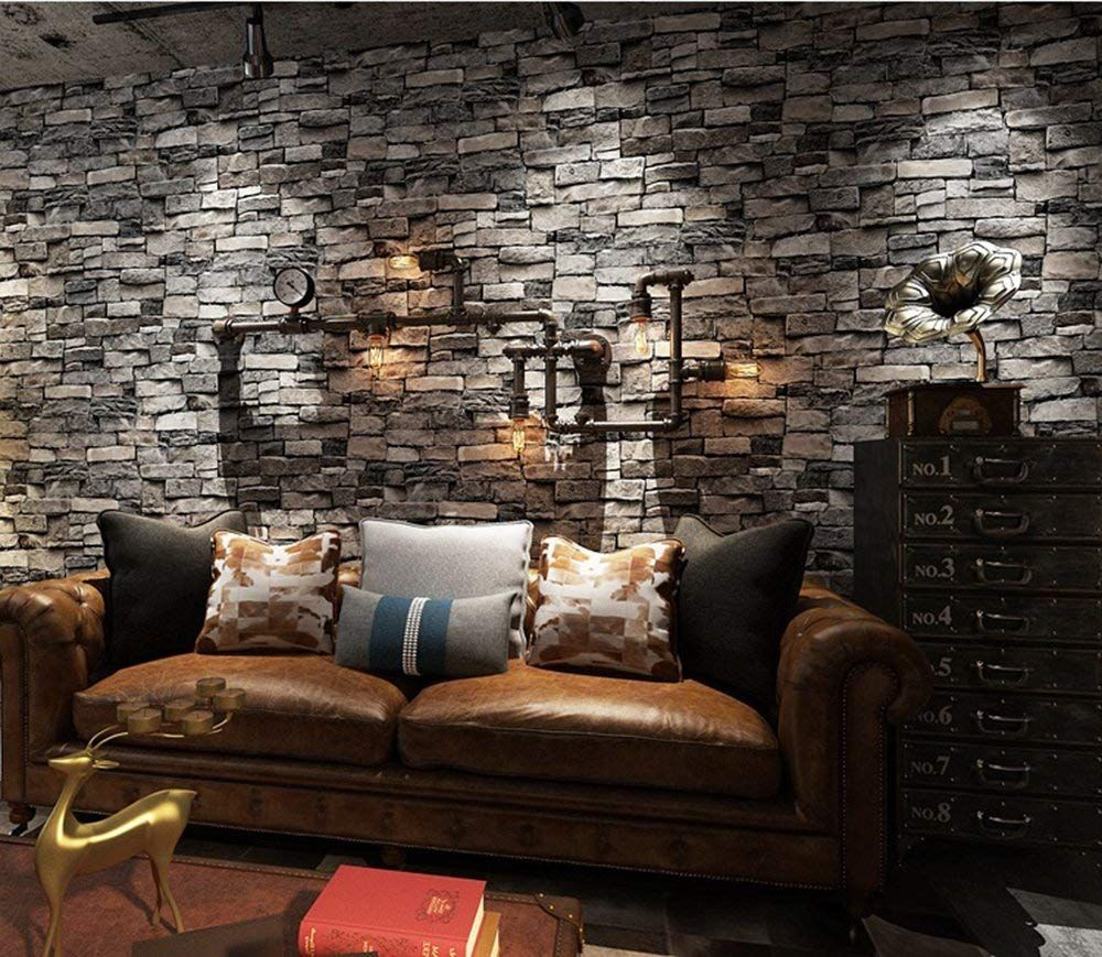 Brick Wallpaper, 3D Stone Textured, Removable and