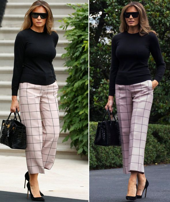 1139111c1e7 Melania Trump steps out in check trousers that hug EVERY curve while ...