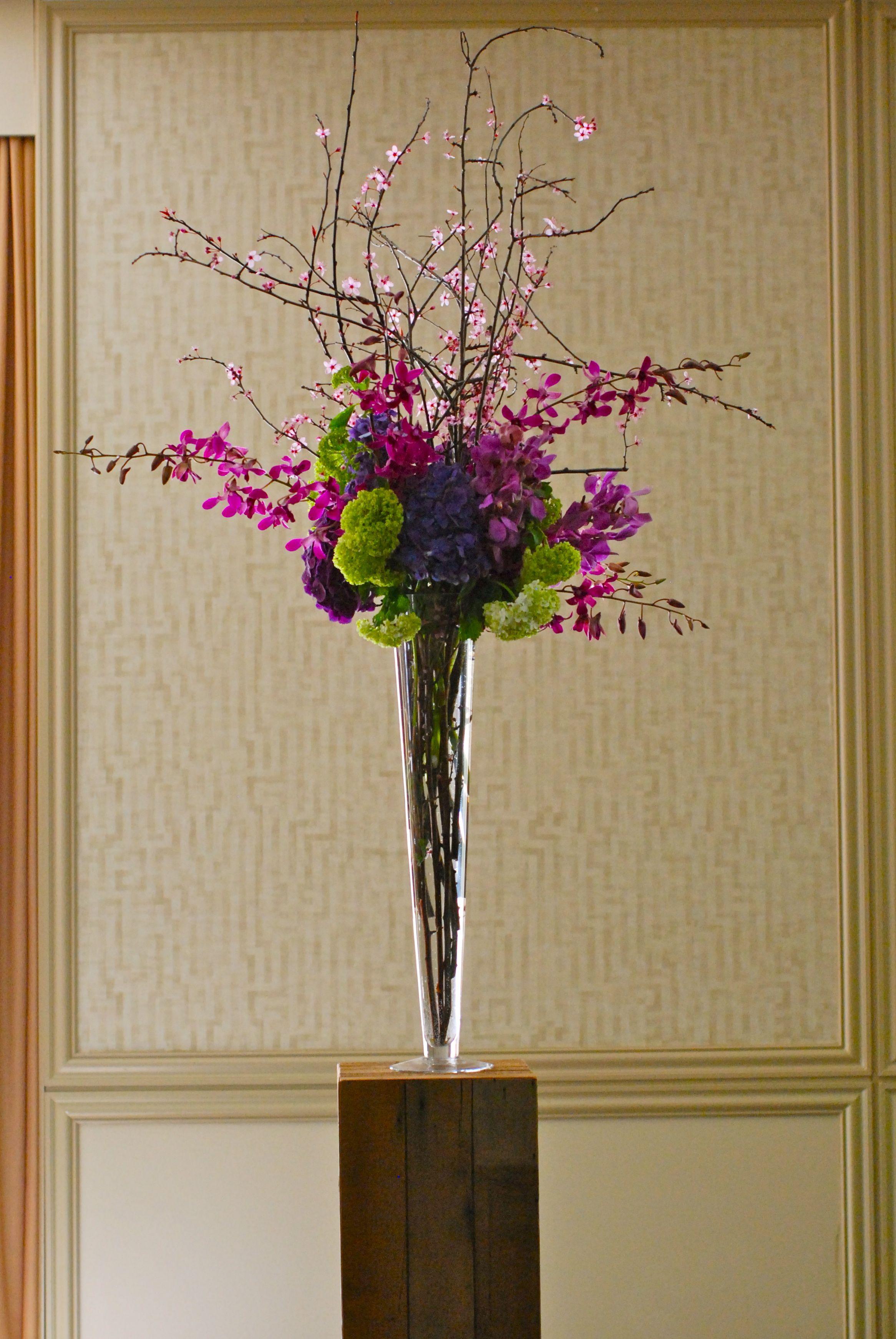Spring tall wedding centerpiece prunus branches hydrangea and spring tall wedding centerpiece prunus branches hydrangea and orchids reviewsmspy