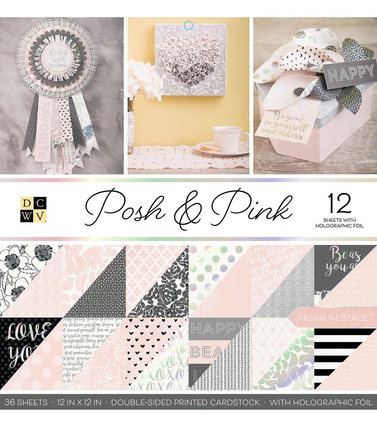 DCWV LILAC LOVE LOT of 18 Double-sided 12 X 12 Printed Cardstock Scrapbook