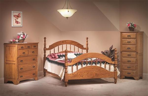 Amish Oak Crest Three Piece Bedroom Furniture Set in Solid Oak Wood