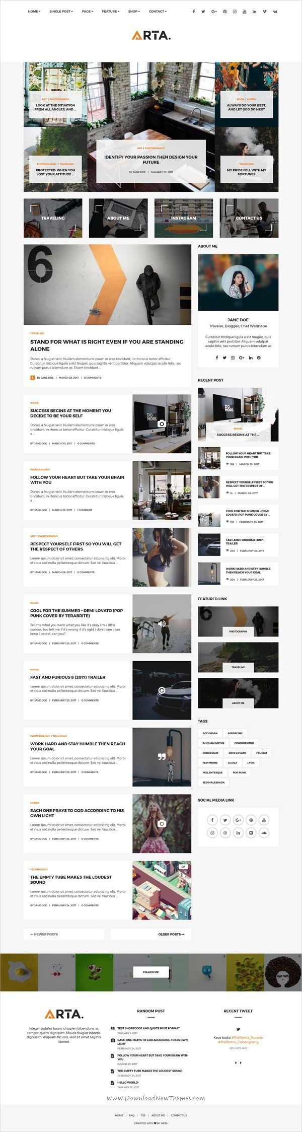 Arta is clean and modern design responsive #WordPress #blog theme ...