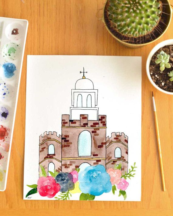 Logan Utah Watercolor Temple By Kinseyjanecreates On Etsy Custom