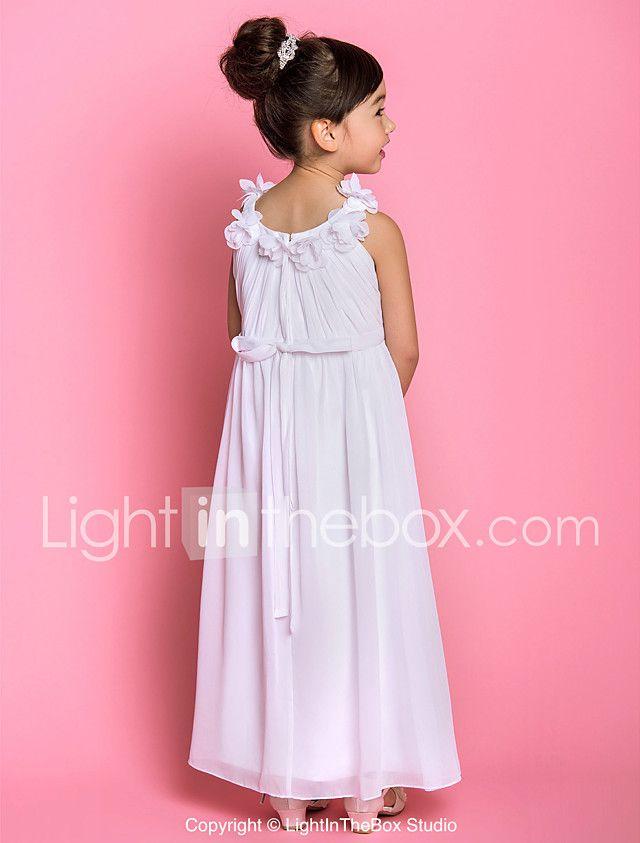 Um vestido de menina de flor com comprimento de tornozelo de uma ...