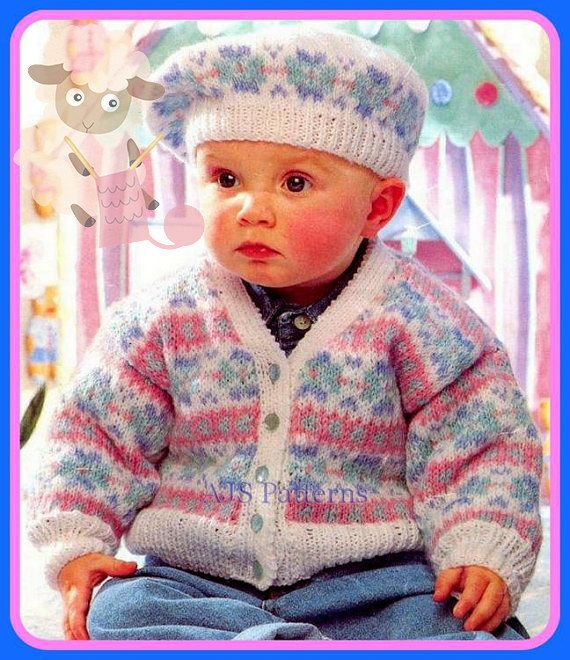 PDF Knitting Pattern for a Baby or Childs Fair Isle Cardigan and ...