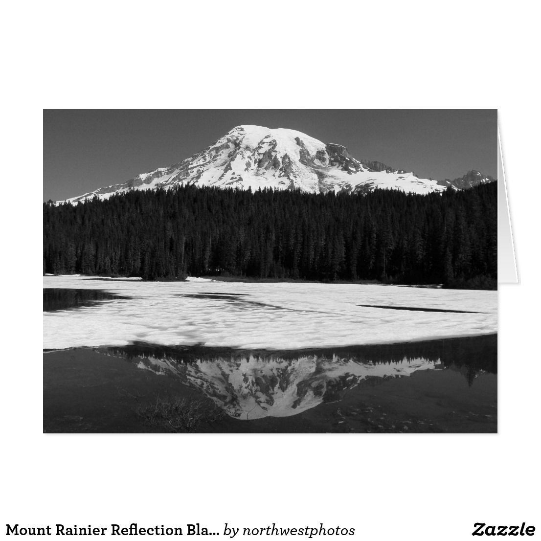 Mount rainier reflection black and white photo card