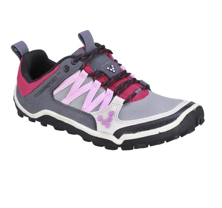 Vivobarefoot Neo Trail Ladies Light Grey Crimson Minimalist Shoes Sport Shoes Women Barefoot Shoes