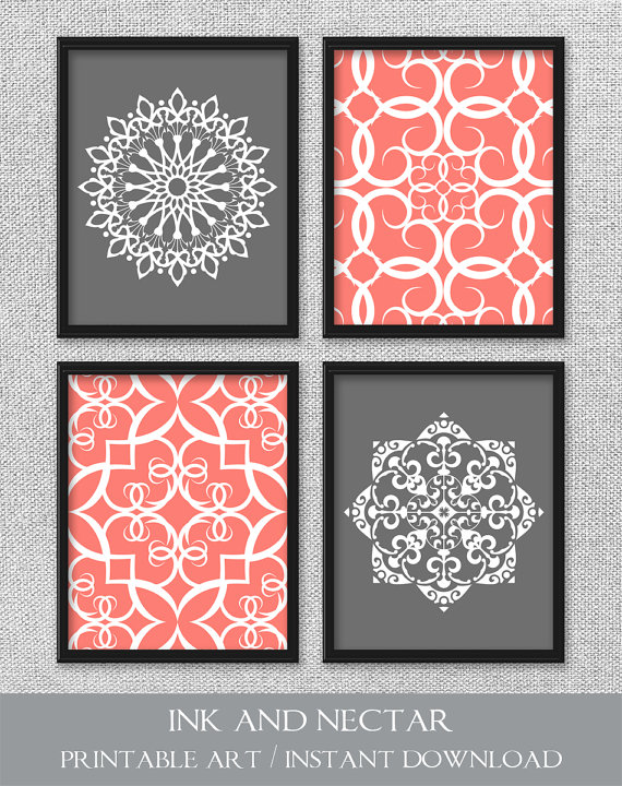 Printable Art Set, Coral and Gray Art, Printable Art, Bedroom Art, DIGITAL DOWNLOAD Art, Printable Wall Art, Home Decor, Bathroom Art is part of bedroom Art Printables -  300 dpi • 4 JPEG files • Due to differences in monitor settings, the colors on your screen may differ slightly from the printed art   DELIVERY • Files are available for instant download  (No physical items will be sent ) You will receive an email with a link to your product downloads once payment is complete  You may also access your downloads by viewing your Etsy Purchases page  TERMS OF USE • For personal use only  Print as many times as you wish, but please do not resell or share files, or sell the printed art  Thanks so much!