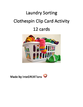 These 12 clip cards provide the opportunity for students to practice sorting laundry.Lights - Brights - Darks? Where does the item go? Students clip a clothespin (or paperclip) to the corresponding basket.The baskets provide visual cues, based on their color.