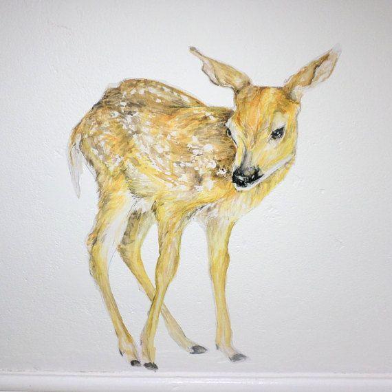 Fawn wall decal, deer decor, fawn wall sticker, woodland wall decals ...