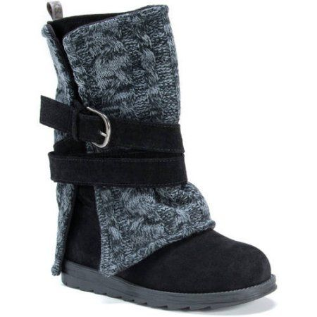 Muk Luks Women's Nevia Black Wool/Faux Suede Mid-calf Boots