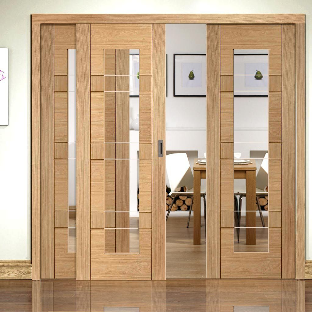 Easi-Slide OP2 Oak Latina Sliding Door System with Clear Glass in One Size Width and with sliding track frame. #slidingdoors #oakglazedslidingdoors #contemporarydoors