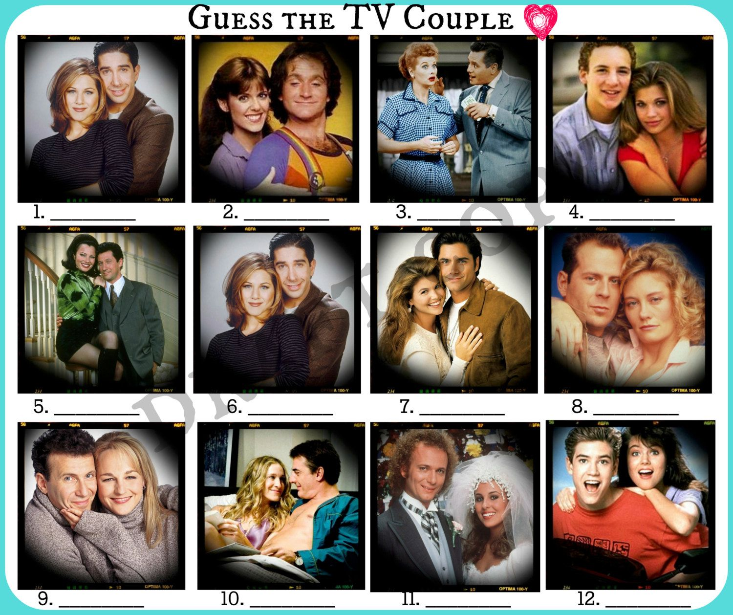 Guess The Famous Tv Couple Game Bachelorette Party Game Famous Tv Couples Bachelorette Party Games Bridal Bachelorette Party