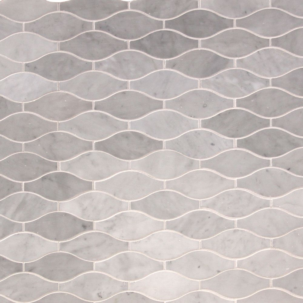 "Marble Mosaic - Elegance Collection - Italian Carrara White Vase / 4""x5""x3/8"" / Polished"