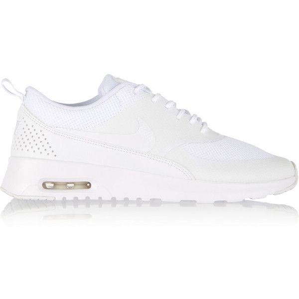 timeless design 0bfd9 14408 Nike Air Max Thea mesh and leather sneakers (£120) ❤ liked on Polyvore  featuring shoes, sneakers, nike, sapatos, footwear, white, lacing sneakers,  nike ...