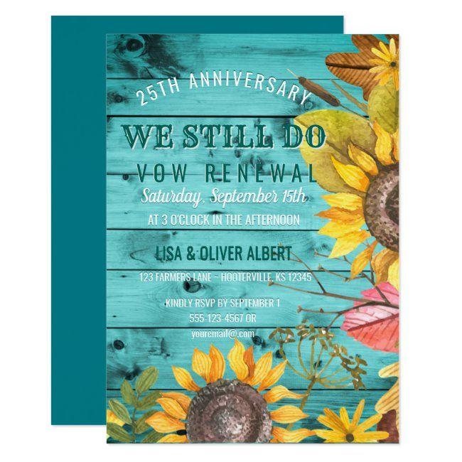 Rustic Sunflowers Backyard Vow Renewal Anniversary Invitation